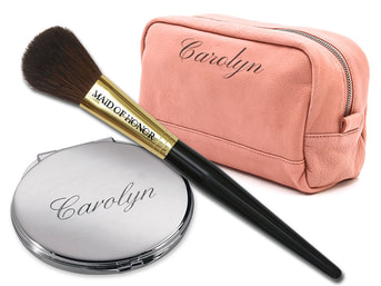 Engraved makeup bag, compact and brush