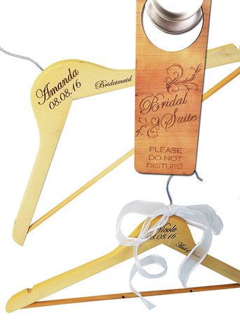 Engraved wood hangers and do not disturb sign