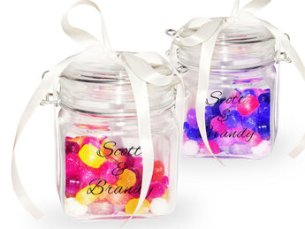 Engraved glass candy jars
