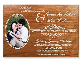Engraved wood wedding invitation with photo
