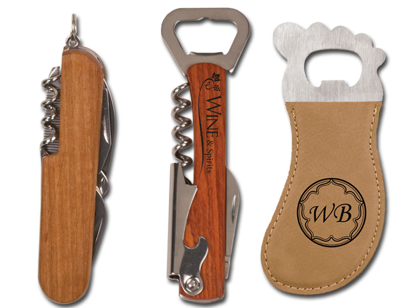 Wood corkscrews and leather bottle opener