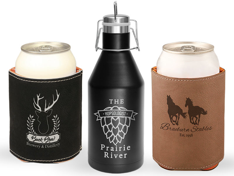 Koozies and growler with custom images