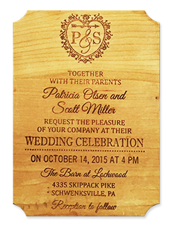 Engraved wood wedding invitation
