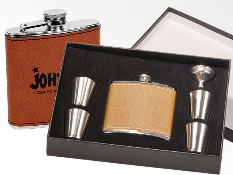 Leather flask and shot glasses gift set