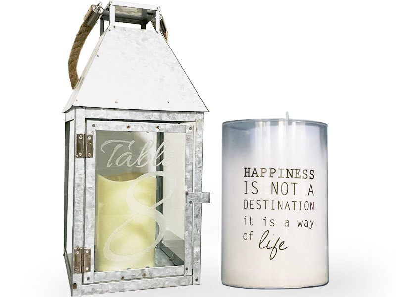Engraved glass votive candle holder and lantern