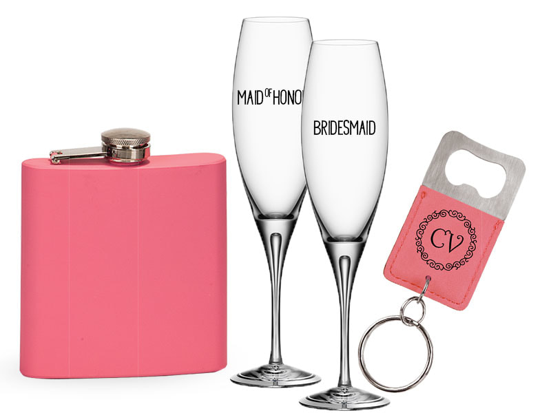 Engraved champagne glasses, pink flask and bottle opener