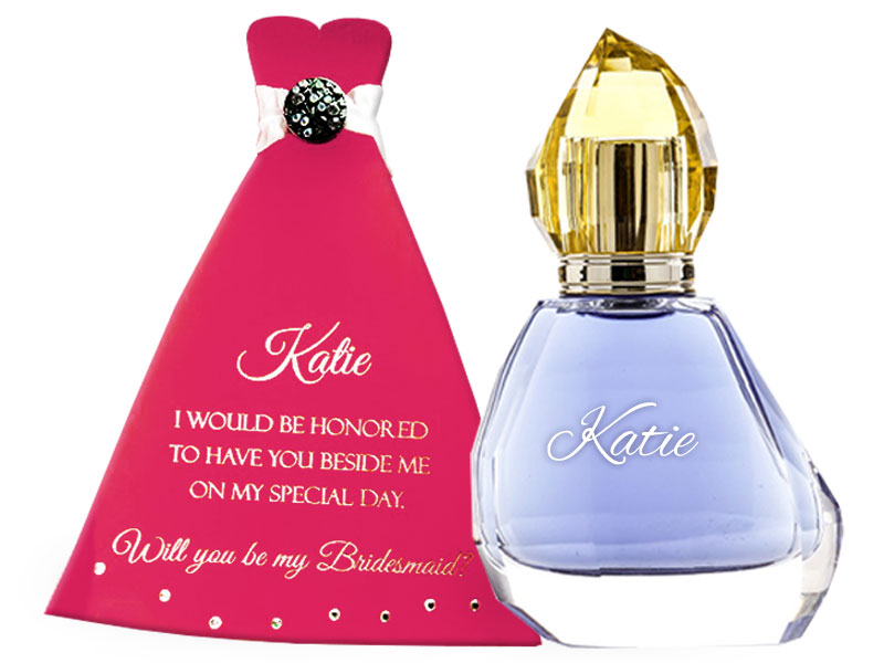 Bridesmaid invitation and perfume bottle