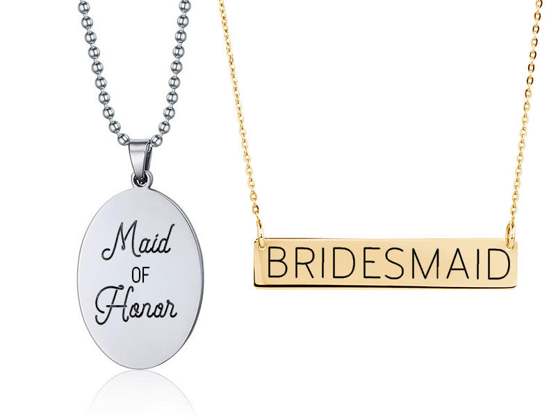 Engraved bridesmaid and maid of honor jewelry