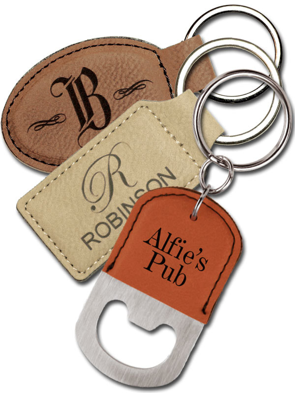 Engraved leather key fobs
