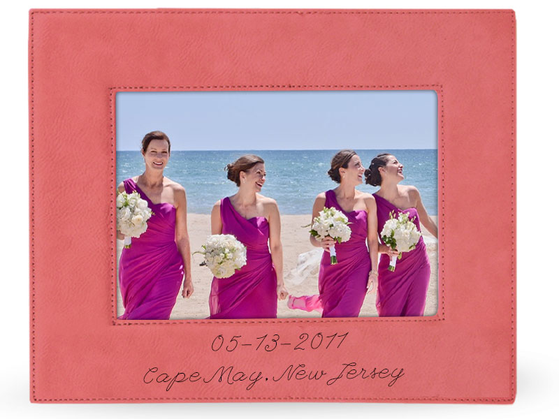 Picture of bridesmaids in pink leather frame with date