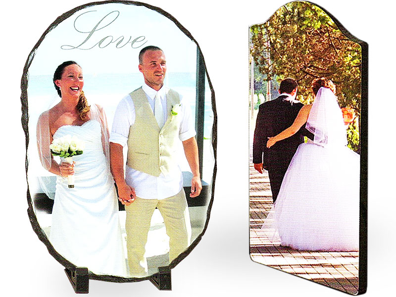 Glass sublimation wedding photos