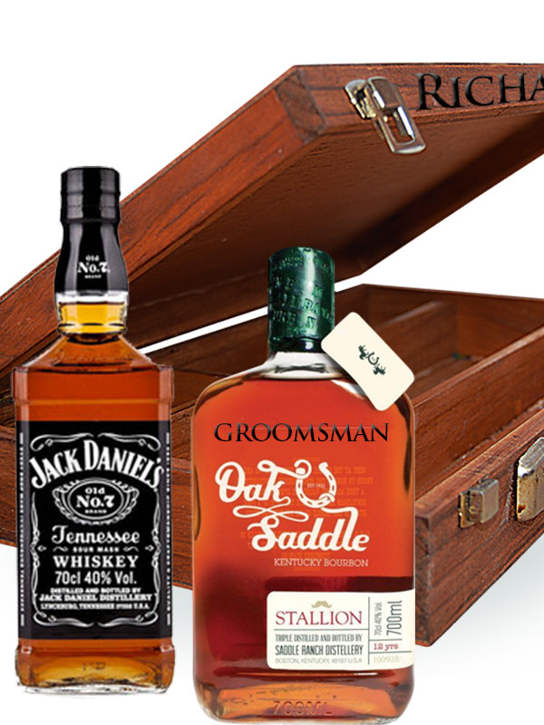 Liquor bottles and wood box