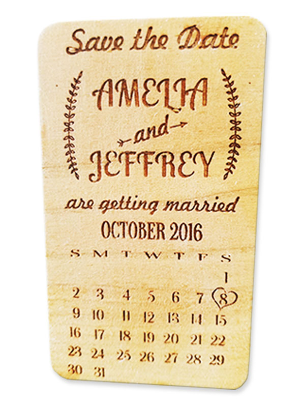 Engraved wood save the date card